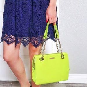 Kate Spade Neon Lime Green gold shoulder bag purse